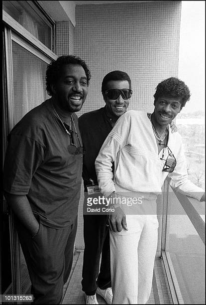 Otis Williams Richard Street and AliOllie Woodson of The Temptations pose for a group portrait at the Royal Garden Hotel on 16th April 1986 in London