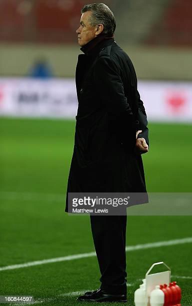 Otmar Hitzfeld manager of Switzerland looks on during the International Friendly match between Greece and Switzerland at Karaiskakis Stadium on...