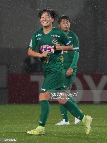 Oto Kanno of NTV Beleza celebrates after scoring her team's first goal during the Empress Cup 41st JFA Women's Championship Semi Final between NTV...