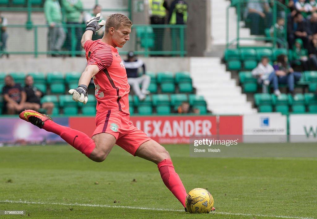 Otso Virtanen Goalkeeper in action for Hibernian during the Pre-Season Friendly between Hibernian and Birmingham City at Easter Road on July 24, 2016 in Edinburgh, Scotland.
