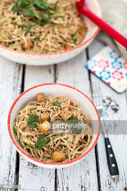 otsu salad with soba noodles, tofu, cucumber, sesame, spring onion and coriander in bowl - soba stock pictures, royalty-free photos & images