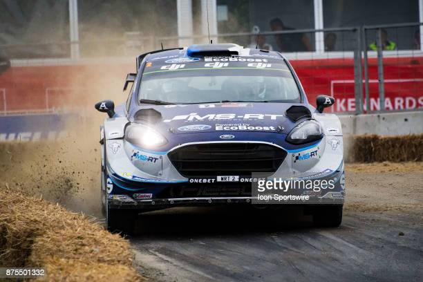 Ott Tanak and codriver Martin Jarveoja of MSport competes during Super Special Stage the Rally Australia round of the 2017 FIA World Rally...