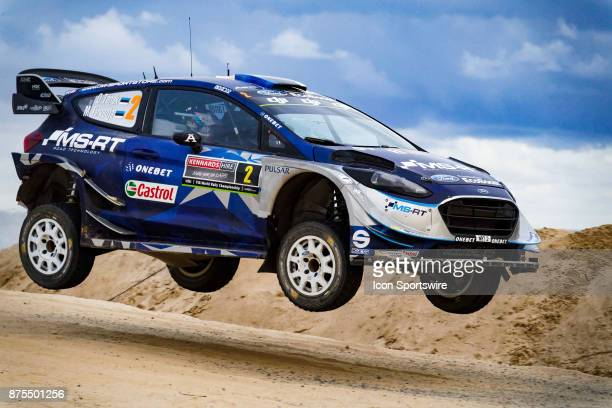 Ott Tanak and codriver Martin Jarveoja of MSport gets some air on a jump during Super Special Stage the Rally Australia round of the 2017 FIA World...