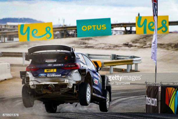 Ott Tanak and codriver Martin Jarveoja of MSport recovers from a road bump during Super Special Stage the Rally Australia round of the 2017 FIA World...