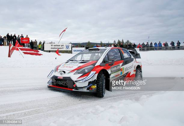 Ott Tanak and his codriver Martin Jarveoja from Estonia are pictured in their Toyota Yaris WRC car during the FIA World Rally Championship Rally...