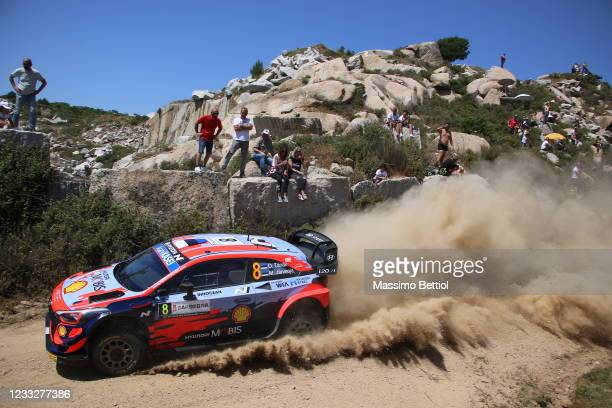 Ott Tanak and Martin Jarveoja of Estonia compete with their Hyundai Shell Mobis WRT Hyundai i20 Coupe WRC during Day One of the FIA World Rally...