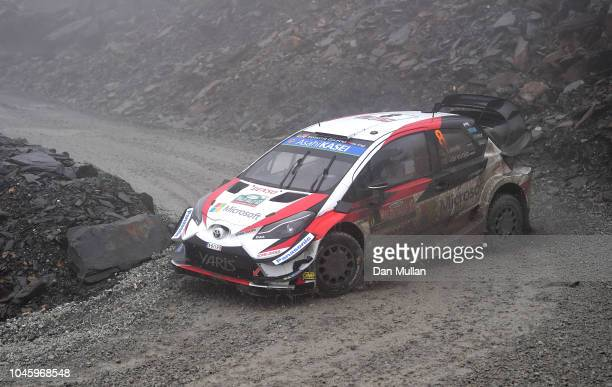 Ott Tanak of Estonia and Citroen Total Abu Dhabi WRT drives with codriver Martin Jarveoja of Estonia during the Slate Mountain Stage on day two of...