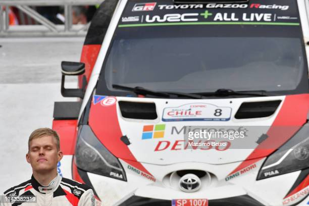 Ott Tanak of Estonia and Martin Jarveoja of Estonia celebrate their victory during day three of the WRC COPEC Chile on May 12 2019 in Concepcion Chile