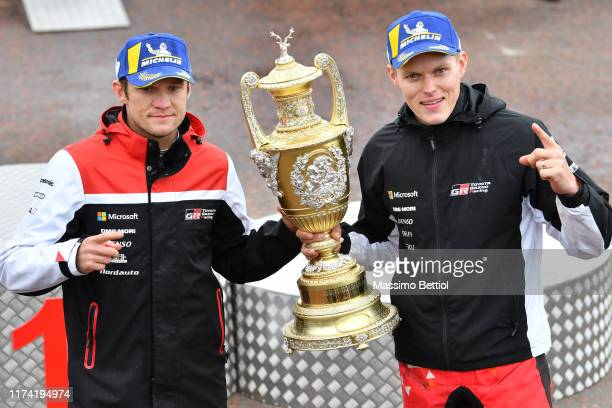 Ott Tanak of Estonia and Martin Jarveoja of Estonia celebrate their victory during Day Three of the FIA WRC Dayinsure Great Britain on October 6 2019...