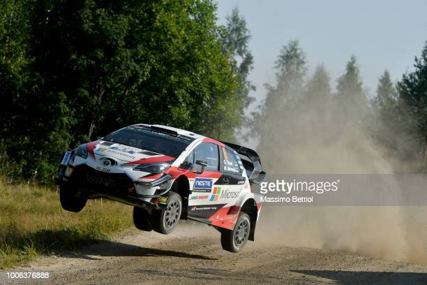 Ott Tanak of Estonia and Martin Jarveoja of Estonia compete in their Toyota Gazoo Racing WRT Toyota Yaris WRC during Day Two of the WRC Finland on...