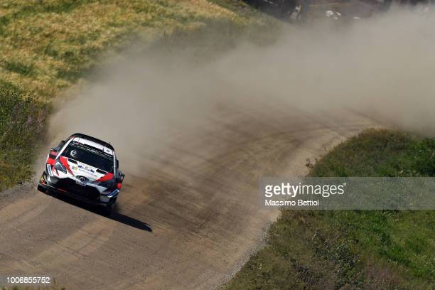 Ott Tanak of Estonia and Martin Jarveoja of Estonia compete in their Toyota Gazoo Racing WRT Toyota Yaris WRC during Day Three of the WRC Finland on...