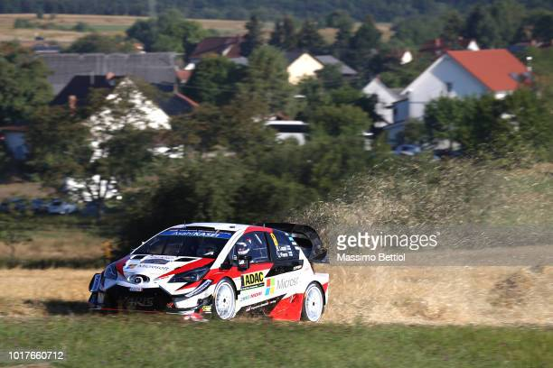 Ott Tanak of Estonia and Martin Jarveoja of Estonia compete in their Toyota Gazoo Racing WRT Toyota Yaris WRC during Day One of the WRC Germany on...