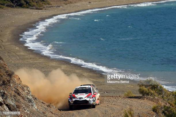 Ott Tanak of Estonia and Martin Jarveoja of Estonia compete in their Toyota Gazoo Racing WRT Toyota Yaris WRC during Day Two of the WRC Turkey on...