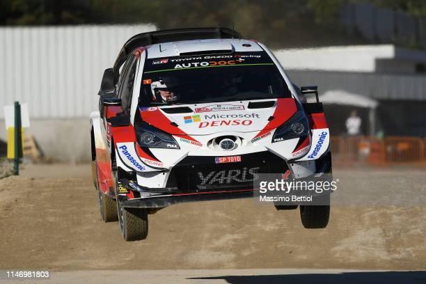 Ott Tanak of Estonia and Martin Jarveoja of Estonia compete in their Toyota Gazoo Racing WRT Toyota Yaris WRC during the Shakedown of the WRC...