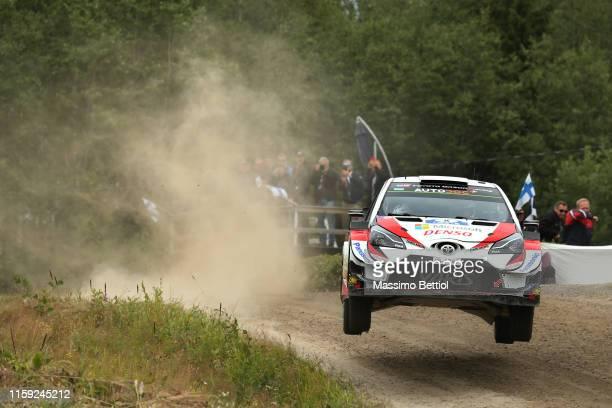 Ott Tanak of Estonia and Martin Jarveoja of Estonia compete in their Toyota Gazoo Racing WRT Toyota Yaris WRC during Day One of the FIA WRC Neste...