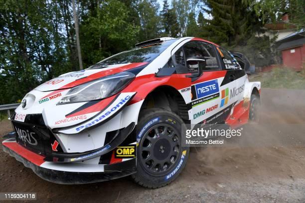 Ott Tanak of Estonia and Martin Jarveoja of Estonia compete in their Toyota Gazoo Racing WRT Toyota Yaris WRC during Day Two of the FIA WRC Neste...