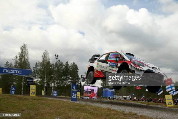 Ott Tanak of Estonia and Martin Jarveoja of Estonia compete in their Toyota Gazoo Racing WRT Toyota Yaris WRC during Day Three of the FIA WRC Neste...