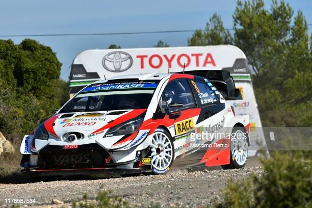 Ott Tanak of Estonia and Martin Jarveoja of Estonia compete in their Toyota Gazoo Racing WRT Toyota Yaris WRC during Day Three of the FIA WRC RACC...