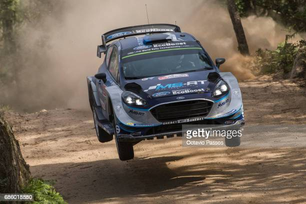 Ott Tanak of Estonia and Martin Jarveoja of Estonia compete in their MSport WRT Ford Fiesta WRC during the SS15 Amarante of the WRC Portugal on May...