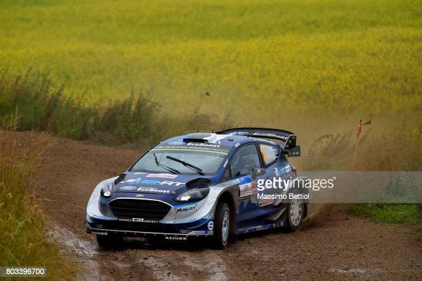 Ott Tanak of Estonia and Martin Jarveoja of Estonia compete in their MSport WRT Ford Fiesta WRC during the Shakedown of the WRC Poland on June 29...