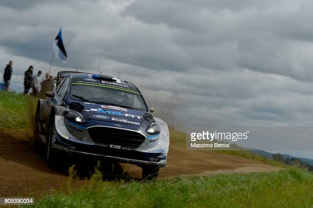 Ott Tanak of Estonia and Martin Jarveoja of Estonia compete in their MSport WRT Ford Fiesta WRC during Day Two of the WRC Poland on July 1 2017 in...