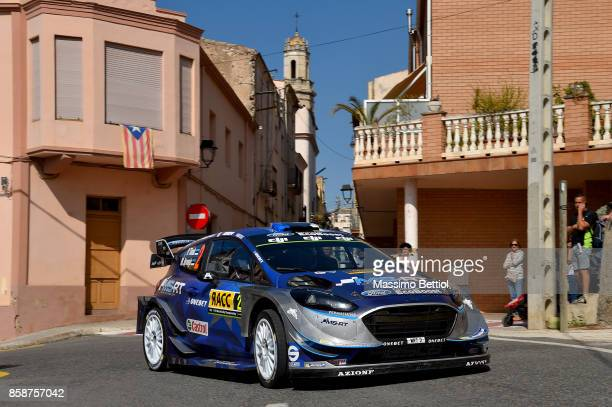 Ott Tanak of Estonia and Martin Jarveoja of Estonia compete in their MSport WRT Ford Fiesta WRC during Day Two of the WRC Spain on October 7 2017 in...