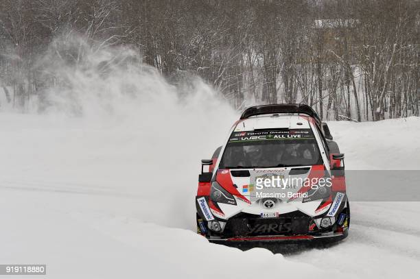 Ott Tanak of Estonia and Martin Jarveoja of Estonia compete in their Toyota Gazoo Racing WRT Toyota Yaris WRC during Day One of the WRC Sweden on...