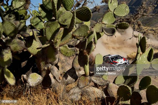 Ott Tanak of Estonia and Martin Jarveoja of Estonia compete in their Toyota Gazoo Racing WRT Toyota Yaris WRC during Day One of the WRC Mexico on...