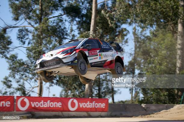 Ott Tanak of Estonia and Martin Jarveoja of Estonia compete in their Toyota Gazoo Racing WRT Toyota Yaris WRC during Day One of the WRC Portugal on...