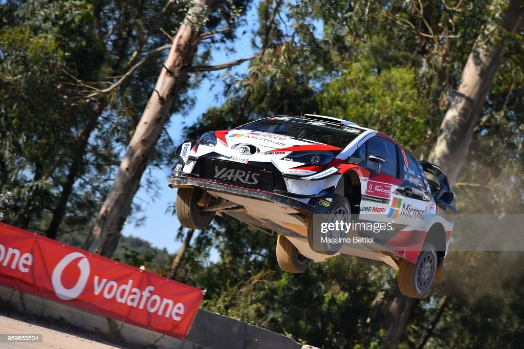 Ott Tanak of Estonia and Martin Jarveoja of Estonia compete in their Toyota Gazoo Racing WRT Toyota Yaris WRC during Day One of the WRC Portugal on May 17, 2018 in Faro, Portugal.