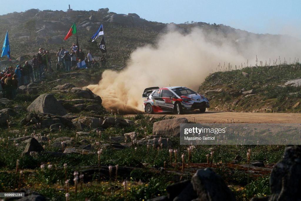 Ott Tanak of Estonia and Martin Jarveoja of Estonia compete in their Toyota Gazoo Racing WRT Toyota Yaris WRC during Day Two of the WRC Portugal on May 18, 2018 in Faro, Portugal. (Photo by Massimo Bettiol/Getty Images