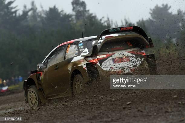 Ott Tanak of Estonia and Martin Jarveoja of Estonia compete with their Toyota Gazoo Racing WRT Toyota Yaris WRC during the Shakedown of the WRC Copec...