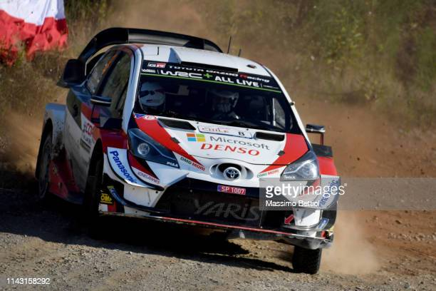 Ott Tanak of Estonia and Martin Jarveoja of Estonia compete with their Toyota Gazoo Racing WRT Toyota Yaris WRC during Day Two of the WRC COPEC Chile...