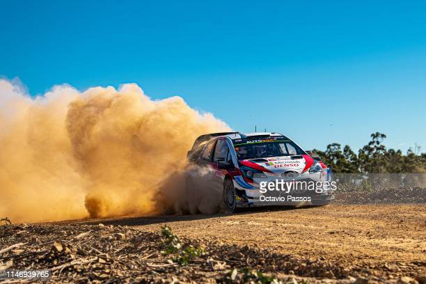 Ott Tanak of Estonia and Martin Jarveoja of Estonia compete with their Toyota Gazoo Racing WRT Toyota Yaris WRC during the shakedown of the WRC...