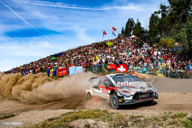 Ott Tanak of Estonia and Martin Jarveoja of Estonia compete with their Toyota Gazoo Racing WRT Toyota Yaris WRC during the Special Stage 17 of the...