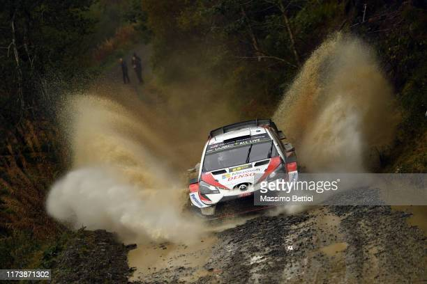 Ott Tanak of Estonia and Martin Jarveoja of Estonia compete with their Toyota Gazoo Racing WRT Toyota Yaris WRC during Day Two of the FIA WRC...