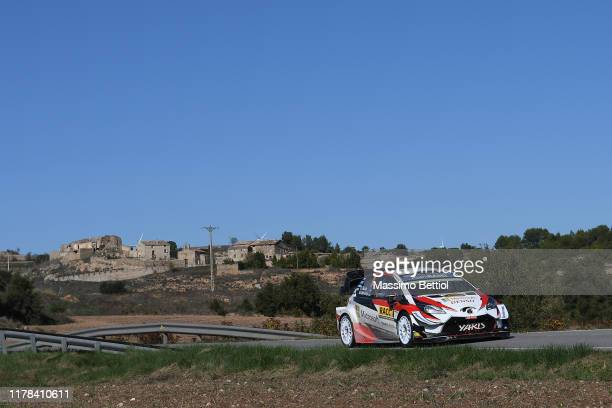 Ott Tanak of Estonia and Martin Jarveoja of Estonia compete with their Toyota Gazoo Racing WRT Toyota Yaris WRC during Day Two of the FIA WRC RACC...