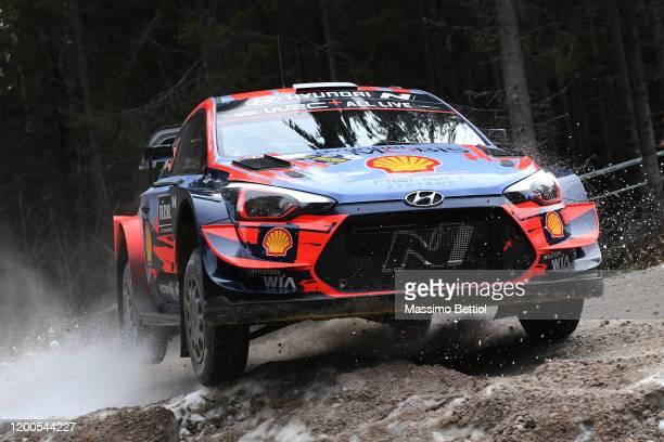 Ott Tanak of Estonia and Martin Jarveoja of Estonia compete with their Hyundai Shell Mobis WRT Hyundai i20 Coupe WRC during the Shakedown of the FIA...