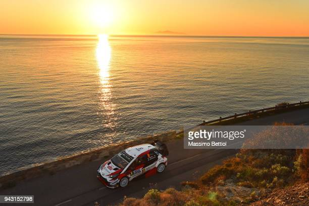 Ott Tanak of Estonia and Martin Jarveoja of Estonia compete with their Toyota Gazoo Racing WRT Toyota Yaris WRC during Day Two of the WRC France on...