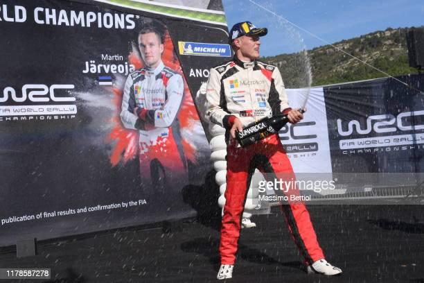 Ott Tanak of Estonia and Martin Jarveoja of Estonia of Toyota Racing celebrate their World Rally Championship title during Day Three of the FIA WRC...