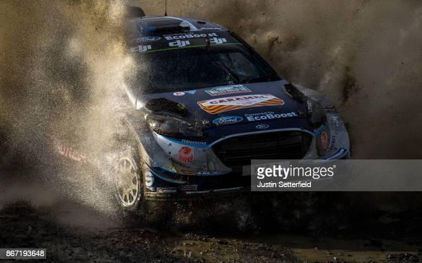 Ott Tanak of Estonia and MSport World Rally Team drives with codriver Martin Jarveoja of Estonia during the Sweet Lamb stage of the FIA World Rally...