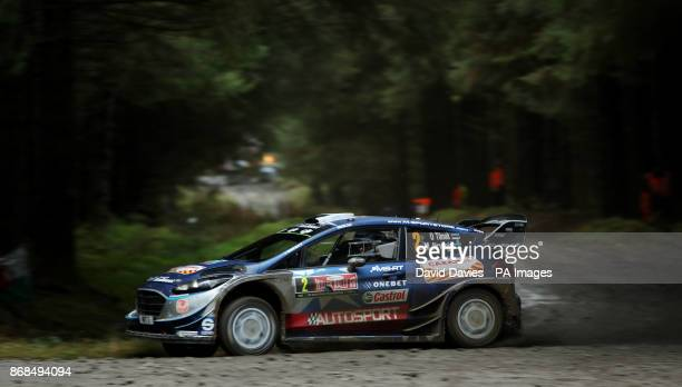 Ott Tanak of Estonia and MSport World Rally Team drives with codriver Martin Jarveoja of Estonia during day four of the Dayinsure Wales Rally GB...