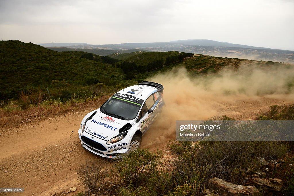 Ott Tanak of Estonia and Raigo Molder of Estonia compete in their M-Sport WRT Ford Fiesta RS WRC during Day One of the WRC Rally Italia Sardinia on June 12, 2015 in Alghero, Italy.