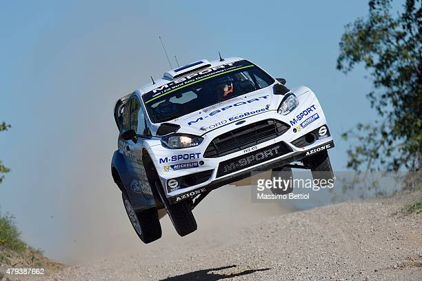 Ott Tanak of Estonia and Raigo Molder of Estonia compete in their MSport WRT Ford Fiesta RS WRC during Day One of the WRC Poland on July 3 2015 in...