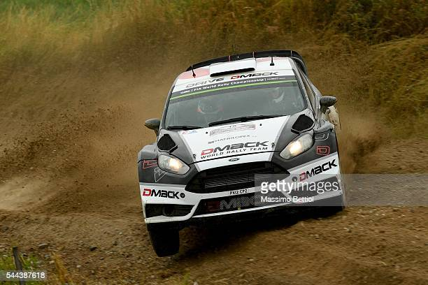Ott Tanak of Estonia and Raigo Molder of Estonia compete in their Dmack WRT Ford Fiesta RS WRC during Day Three of the WRC Poland on July 3 2016 in...