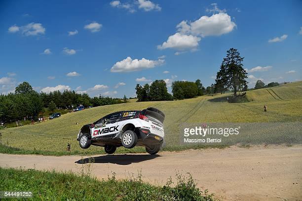 Ott Tanak of Estonia and Raigo Molder of Estonia compete in their Dmack WRT Ford Fiesta RS WRC during Day Two of the WRC Poland on July 2 2016 in...