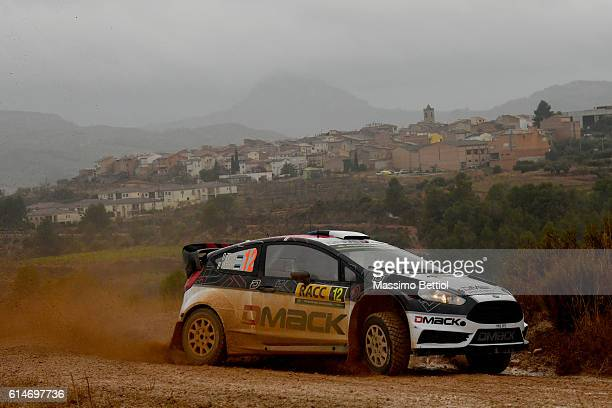 Ott Tanak of Estonia and Raigo Molder of Estonia compete in their DMACK WRT Ford Fiesta RS WRC during Day One of the WRC Spain on October 14 2016 in...