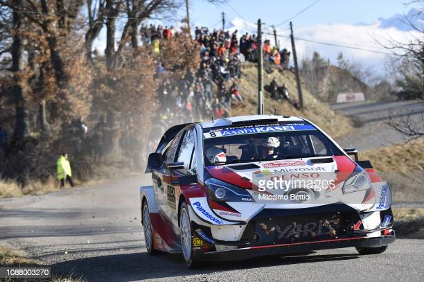 Ott Tanak of Finland and Martin Jarveoja of Finland compete in their Toyota Gazoo Racing WRT Toyota Yaris WRC during the shakedown of the WRC...