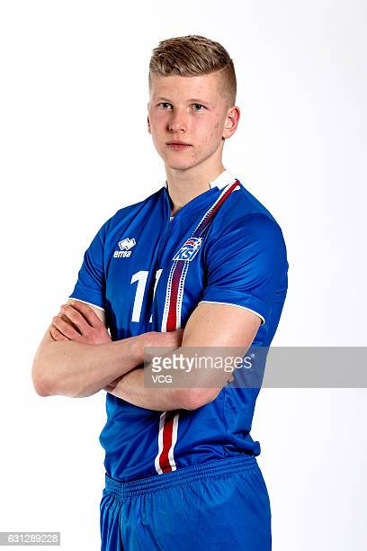 Ottar Magnus Karlsson of Iceland poses during the team presentation ahead of the 2017 Gree China Cup International Football Championship on January 8...