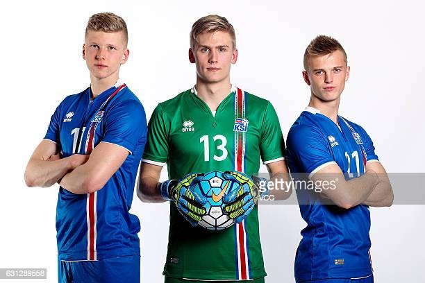 Ottar Magnus Karlsson Runar Alex Runarsson and Albert Gudmundsson of Iceland pose during the team presentation ahead of the 2017 Gree China Cup...